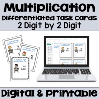 Multiplication Task Cards: 2 Digit by 2 Digit Multiplication (3 Levels)