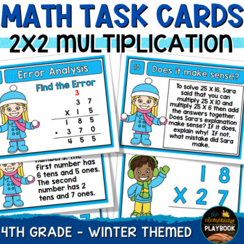 Multiplication Task Cards - 2 Digit by 2 Digit (Winter Themed 4th Grade)