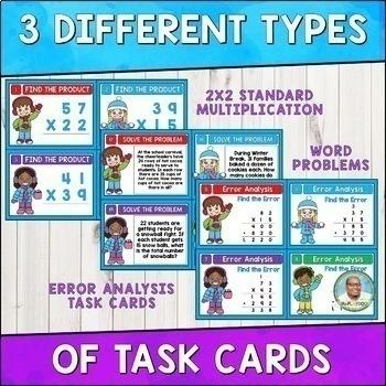 Winter Math: 2 Digit by 2 Digit Multiplication Task Cards 4th Grade