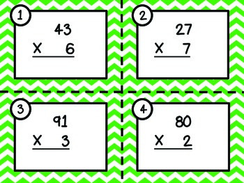 Multiplication Task Cards - 2 Digit x 1 Digit