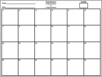 Multiplication of 2-Digit Numbers Task Cards