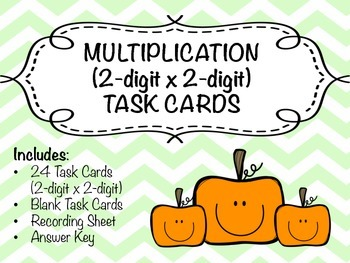 Multiplication Task Cards (2-digit x 2-digit) COMMON CORE ALIGNED