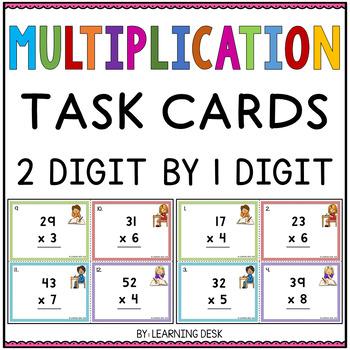 2 Digit By 1 Digit Multiplication Task Cards-Multiplication Activity