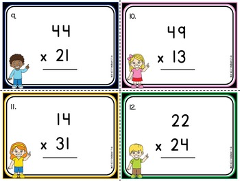 2 Digit By 2 Digit Multiplication Task Cards-Multiplication Activity