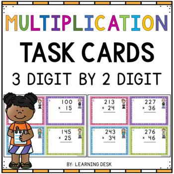 3 Digit By 2 Digit Multiplication Task Cards-Multiplication Activity