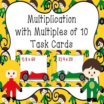 Multiplying by Multiples of 10 Task Cards 3.NBT.3