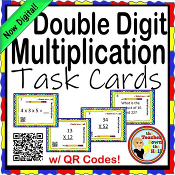 Double Digit Multiplication Task Cards w/ QR Codes