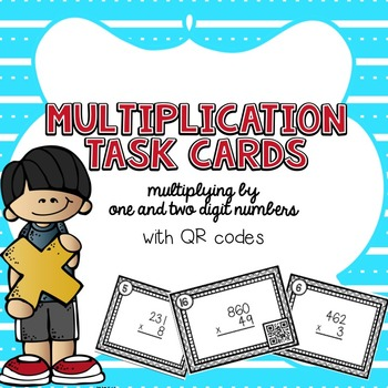 Multiplication Practice (Grades 4-5) Task Cards (with QR code option)