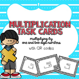 Multiplication Practice (Grades 4-5) Task Cards (with QR c