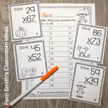 Fall Double Digit Multiplication Task Cards, Recording Sheets and Answer Keys