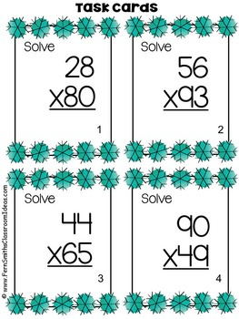 Winter Double Digit Multiplication Task Cards