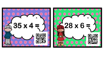 Multiplication Task Cards: 2 Digit by 1 Digit(QR Codes)