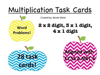 Multiplication Task Cards (2x2, 3x1, 4x1) (Word Problems)