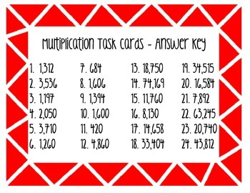 Multiplication Task Cards - 2x2 Digits and 4x1 Digits