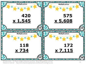 3 Digit Multiplication Task Cards, 5th Grade Math Review Games SCOOT