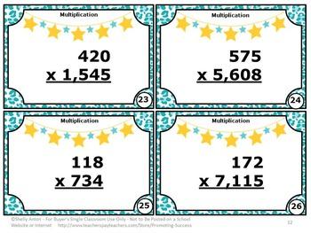 5th Grade Multiplication Task Cards