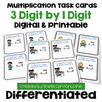 Multiplication Task Cards: 3 Digit by 1 Digit Multiplication (3 Levels)