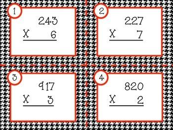 Multiplication Task Cards - 3 Digit x 1 Digit