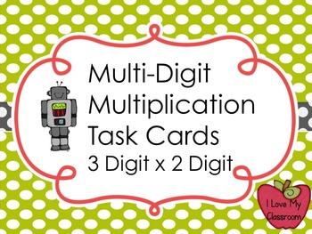 Multiplication Task Cards 3 Digit x 2 Digit (Robot)