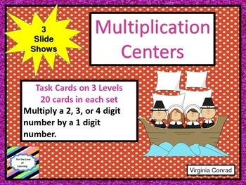 Multiplication Task Cards---3 Levels--Thanksgiving Theme