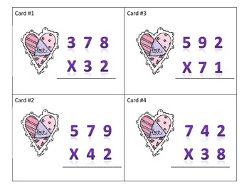Multiplication Task Cards 3 digit by 2 digit (Valentines)