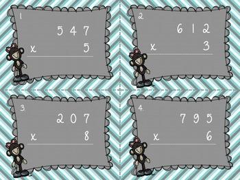 Multiplication Task Cards 3 digit x 1 digit