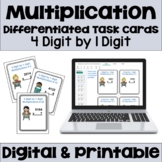 Multiplication Task Cards: 4 Digit by 1 Digit (Differentiated)