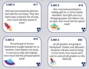 5.NBT.5 (Multiplication Word Problems) Task Cards