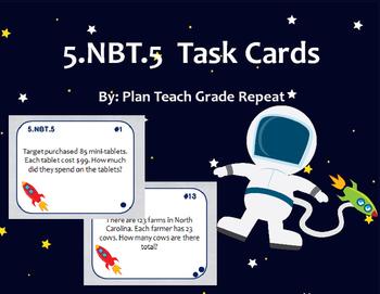 5.NBT.5 (Multiplication Word Problems) Task Cards