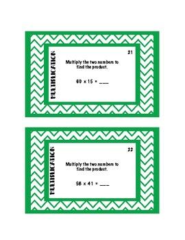 Multiplication Task Cards - 50 total task cards