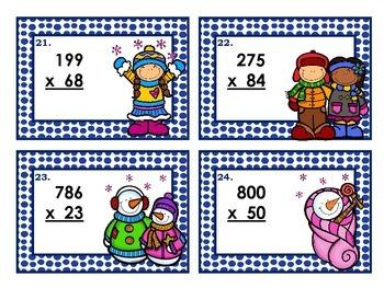 3 Digit by 2 Digit Multiplication (Winter Theme) 5.NBT.B.5