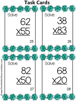 Winter Multiplication Task Cards Mixed Facts and Double Digit Bundle