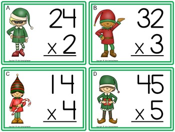 Multiplication Task Cards - Christmas Theme