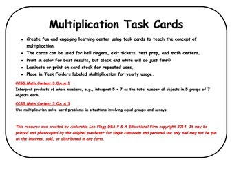 Multiplication Task Cards Common Core