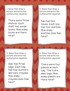Multiplication Task Cards multiplying by 3 and 4 Differentiated