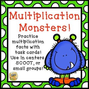 Multiplication Task Cards - Facts 0 - 12 - Multiplication Monsters!  Grades 2-5