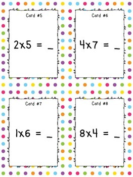 Multiplication Task Cards {Level 1 ~ 1-9 Facts}