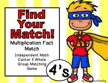 Multiplication Task Cards (Match Game) 4's