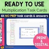 Multiplication Task Cards | Math Fact Practice Games and A