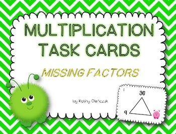 Multiplication Task Cards -- Missing Factors