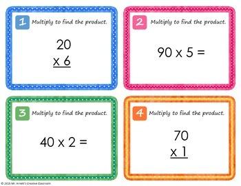 Multiplication Task Cards Multiples of 10