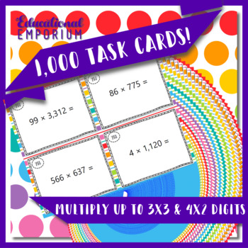 Multiplication Task Cards, Multiply 3x3 and up to 4x2 Digits, 5.NBT.5