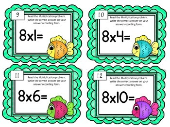 Multiplication Task Cards.Multiply by Eight 8 Times Tables Math Center