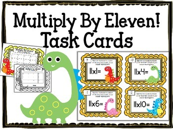 Multiplication Task Cards.Multiply by Eleven 11 Times Tables Math Center
