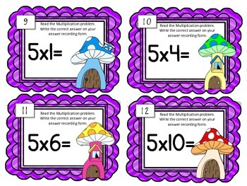 Multiplication Task Cards.Multiply by FIVE 5 Times Tables Assessment Math Center