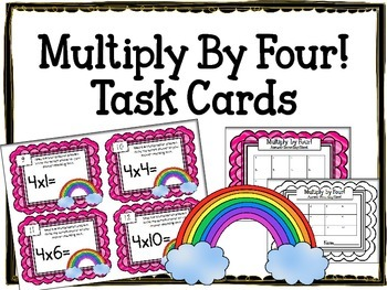 Multiplication Task Cards.Multiply by FOUR 4 Times Tables Assessment Math Center