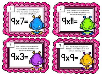 Multiplication Task Cards.Multiply by NINE 9 Times Tables Assessment Math Center