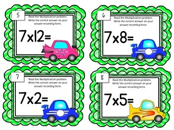 Multiplication Task Cards.Multiply by SEVEN 7 Times Tables Math Center