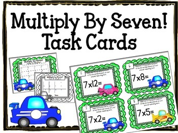 Multiplication Task Cards.Multiply by SEVEN 7 Times Tables