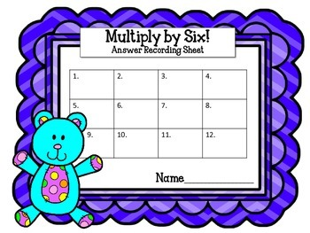 Multiplication Task Cards.Multiply by Six 6 Times Tables Assessment Math Center